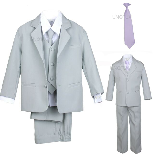 Baby Toddler Boy Kid Teen 6 Pcs Wedding Prom Formal Tuxedo Suit Gray ...