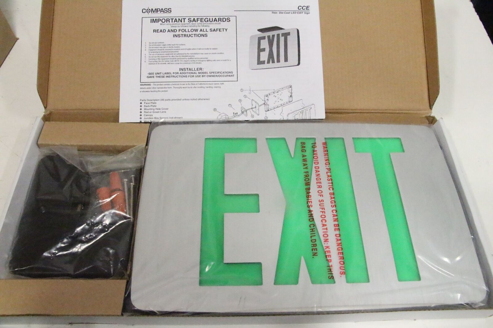 Hubbell Lighting Compass Exit Sign With Battery Backup 1w Green