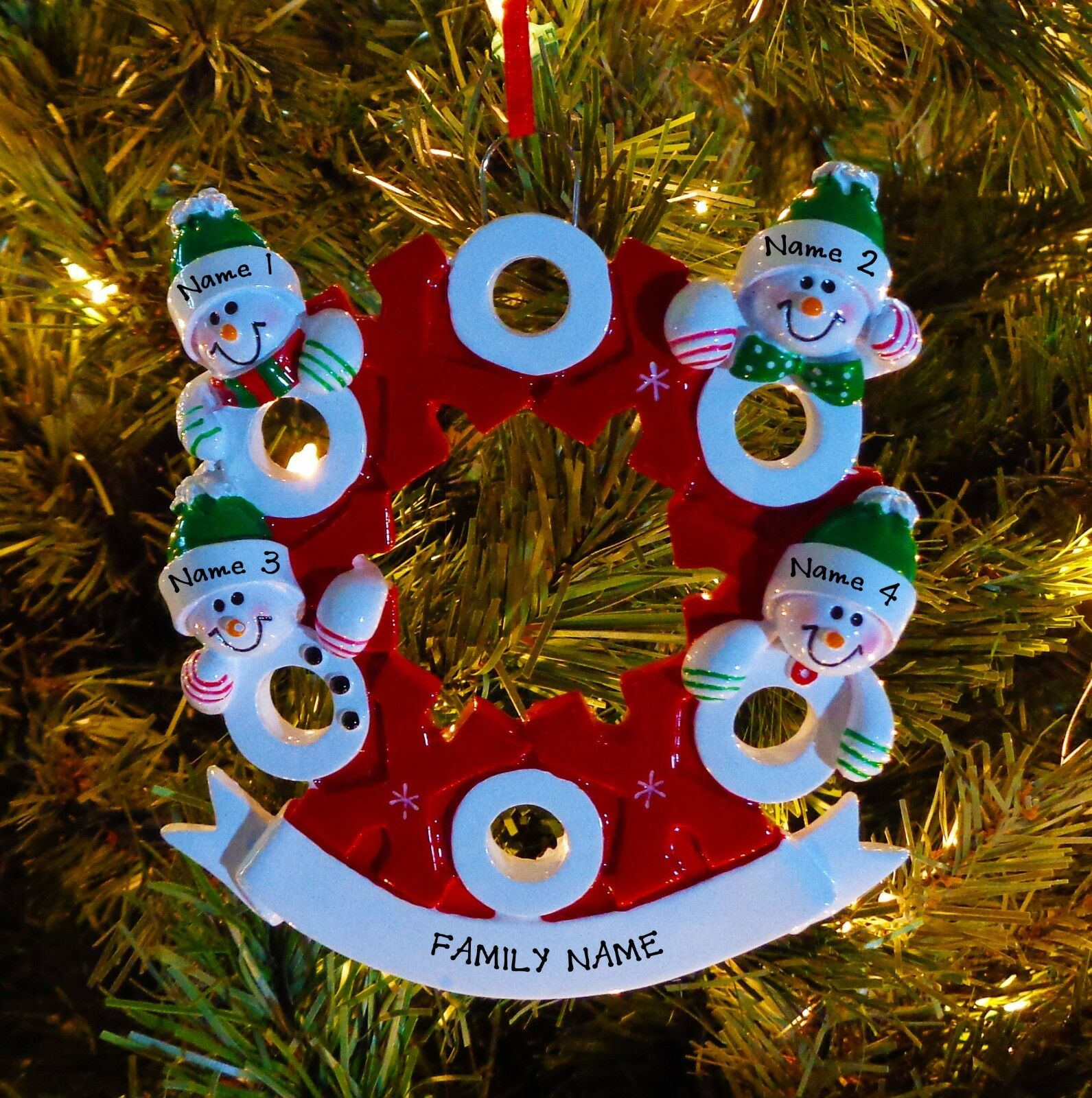 Personalized Family of Four 4 Hugs and Kisses XS & OS Christmas Tree ...