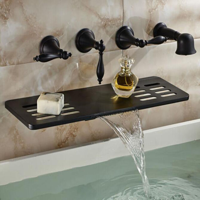 Waterfall Oil Rubbed Bronze Bathtub Faucet Wall Mount Three Handle ...