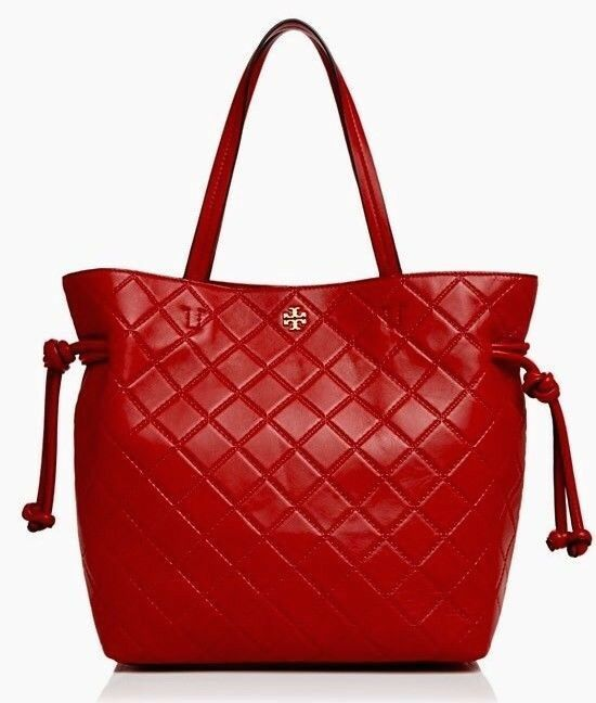 Tory Burch Georgia Slouchy Quilted Leather Tote Liberty Red | eBay : tory burch quilted tote - Adamdwight.com