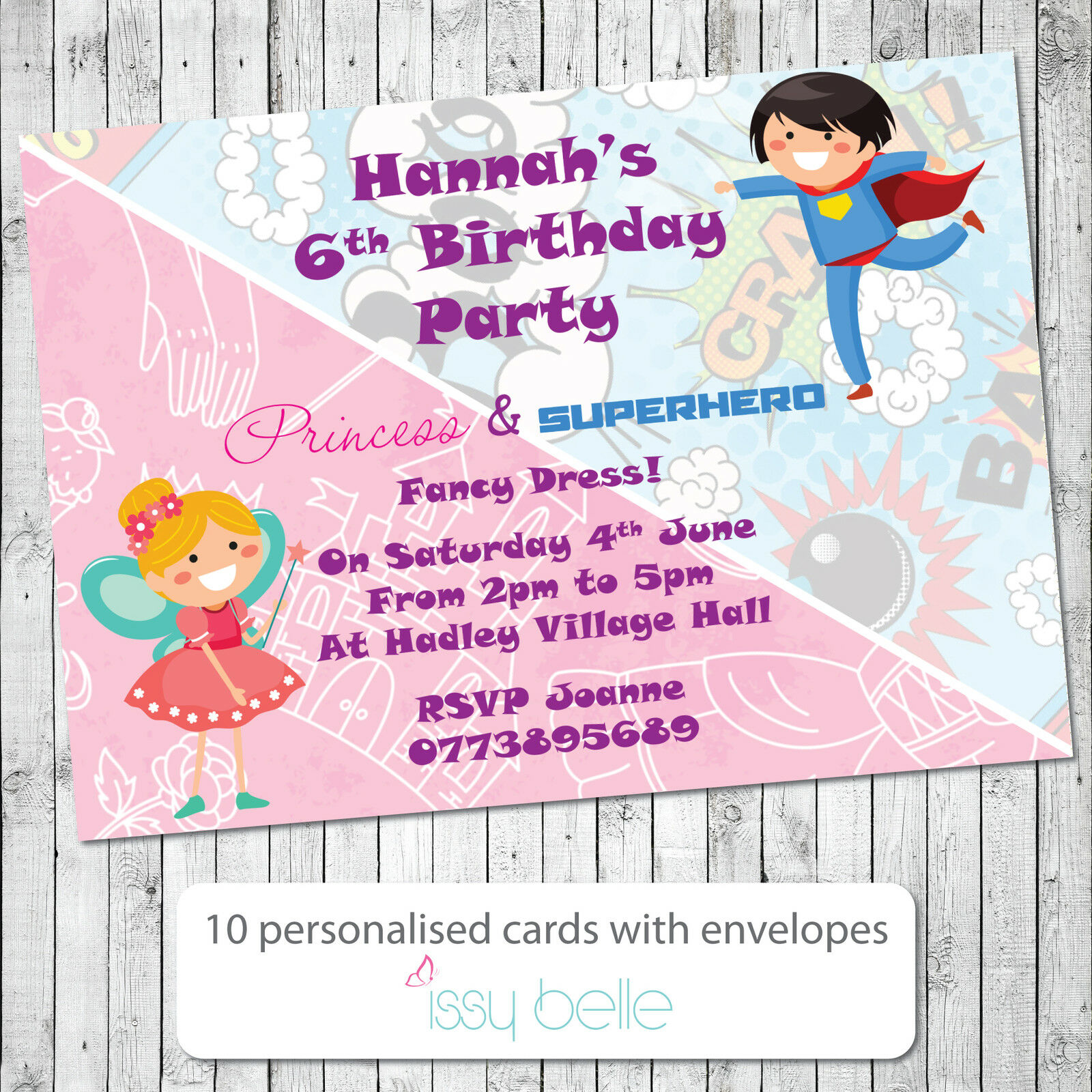 Personalised Birthday Party Invitations Boy Girl Princess ...