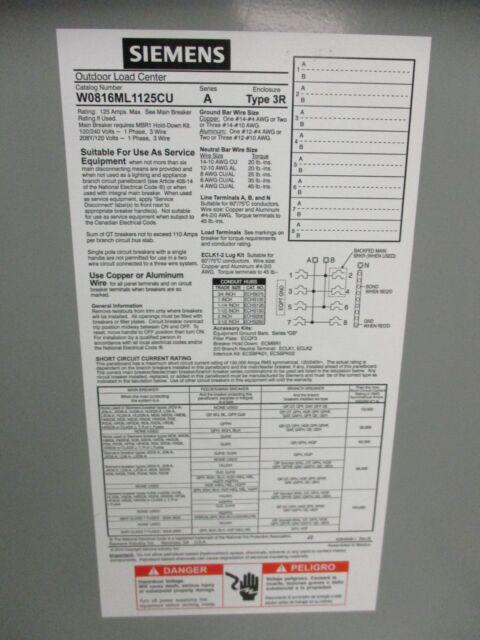 Siemens w0816ml1125cu 125 amp main lug nema 3r load center ebay greentooth Images