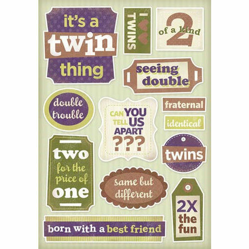 Karen Foster Seeing Double Twins Cardstock Scrapbooking Stickers