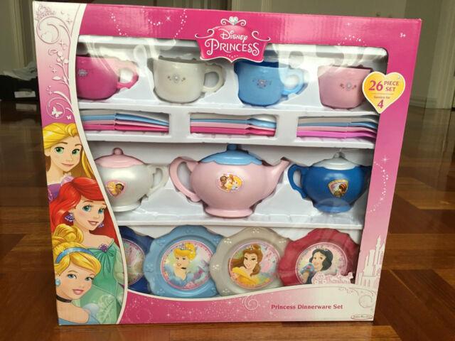 Disney Princess Dinnerware Set Pretend Toy Tea Pot Bowl Cup Fork Plate 26 Piece & Disney Princess Dinnerware Dish Tea Set 26 Pieces. Included | eBay