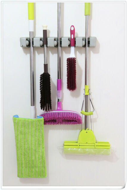 Superb 5 Position Wall Mount Magic Mop And Broom Holder Hanger Cleaning Tools  Organizer Photo