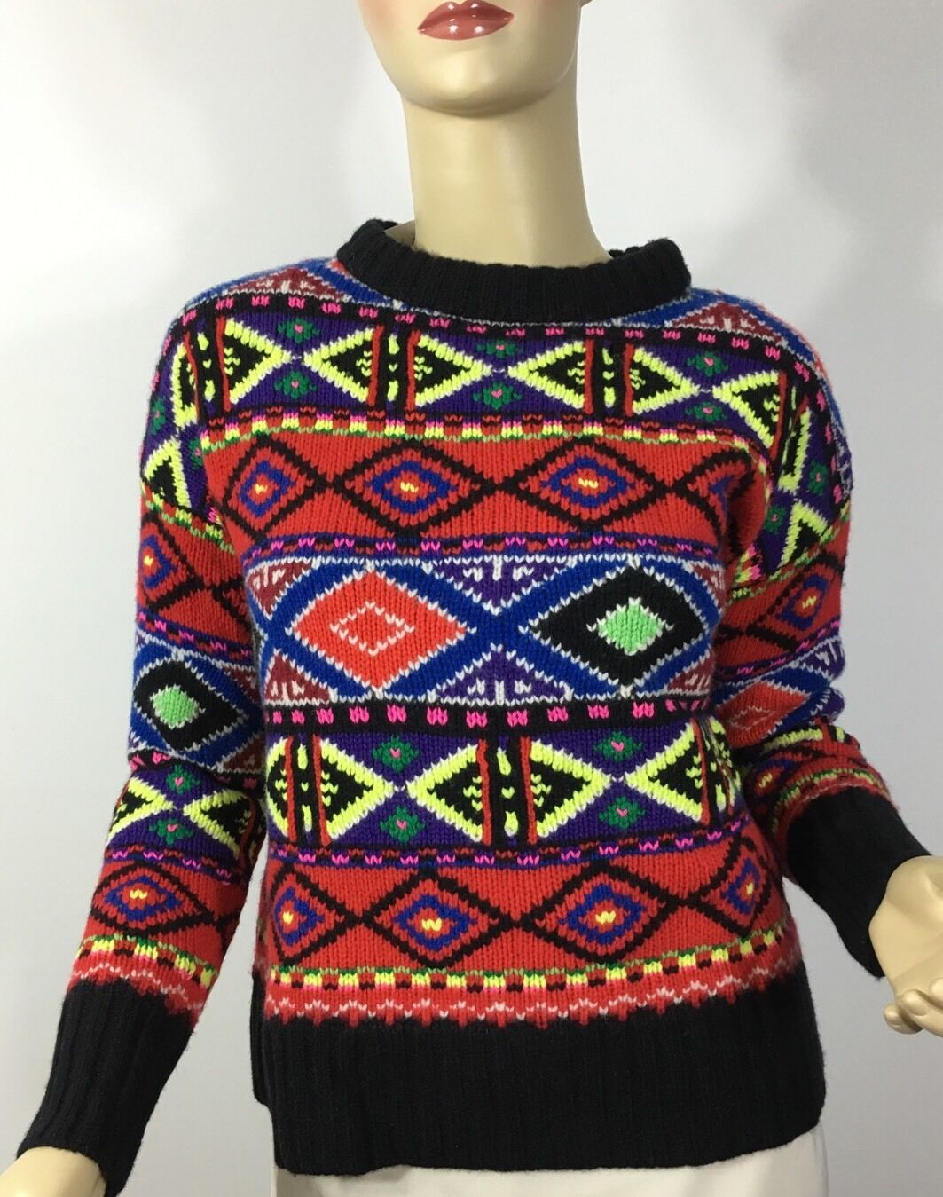 Polo Ralph Lauren Neon Fair Isle Sweater Large Merino Wool ...