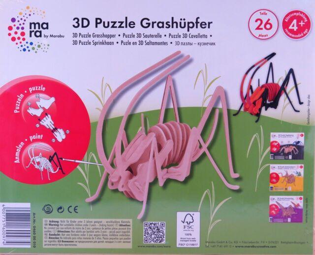 mara by Marabu 3D Puzzle Grashüpfer - Holzbausatz - 26 Teile - zum Anmalen AKTIV