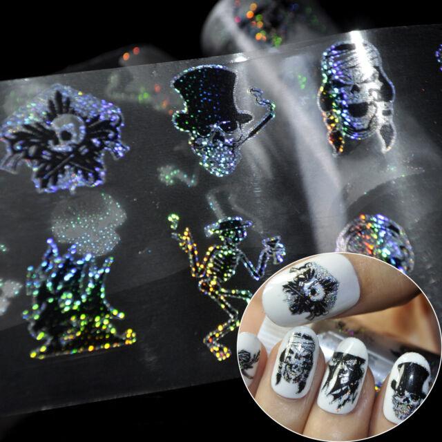 Zombie Pattern Nail Art Foil Stickers Skull Head Nail Design