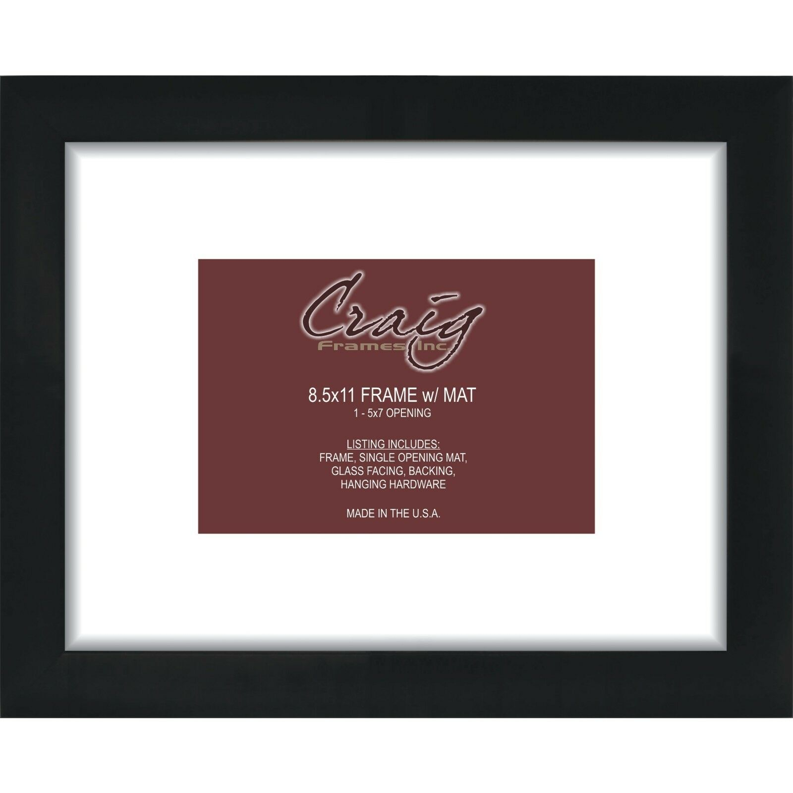Craig Frames 8.5x11 Black Picture Frame White Mat With Opening for ...