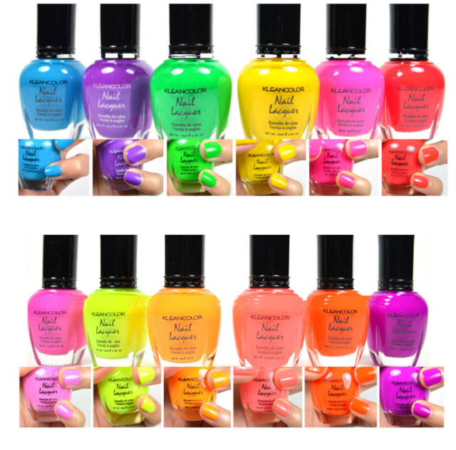 KleanColor Neon Colors 12 Full Colletion Set Nail Polish Lacquer 12 ...