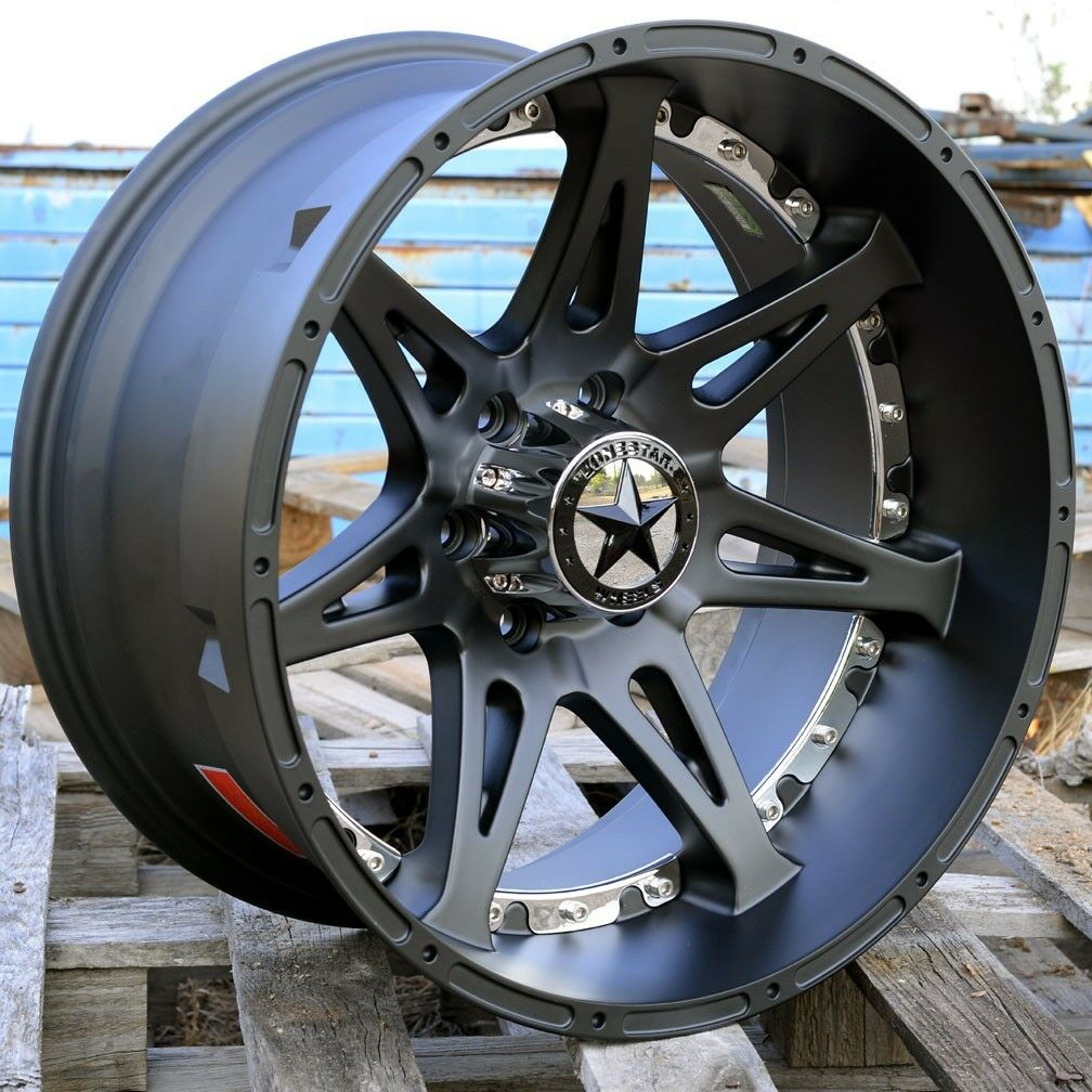 20 Matte Black Lonestar Warrior Wheels Ford F150 20x10 6x135 Deep