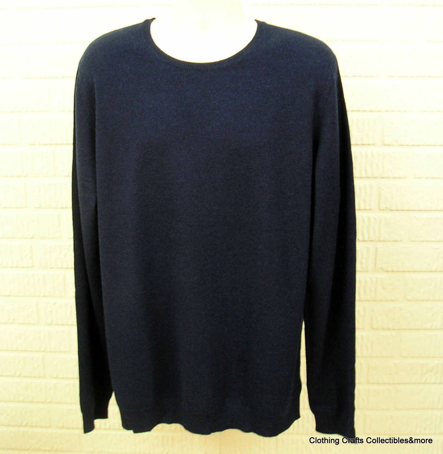 Mens Navy Blue 100 Pure Cashmere Sweater 2xlt Crew Neck Marc ...