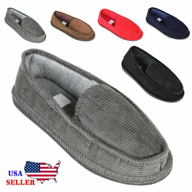 Superior New Mens House Slippers Corduroy Moccasin Slip On Men Shoes Male Size 5 14