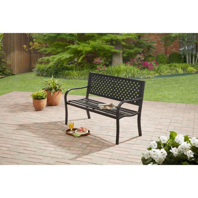 outdoor bench seat garden park porch patio chair metal furniture yard backyard - Garden Furniture Table Bench Seat