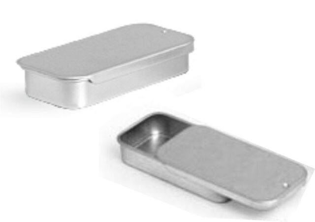 Metal Slide Top Tin Containers Small for Crafts Geocache Storage