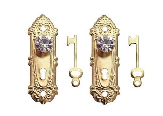 Dollhouse Miniature Decorative Brass Door Knobs With Crystal Knobs #CLA05687