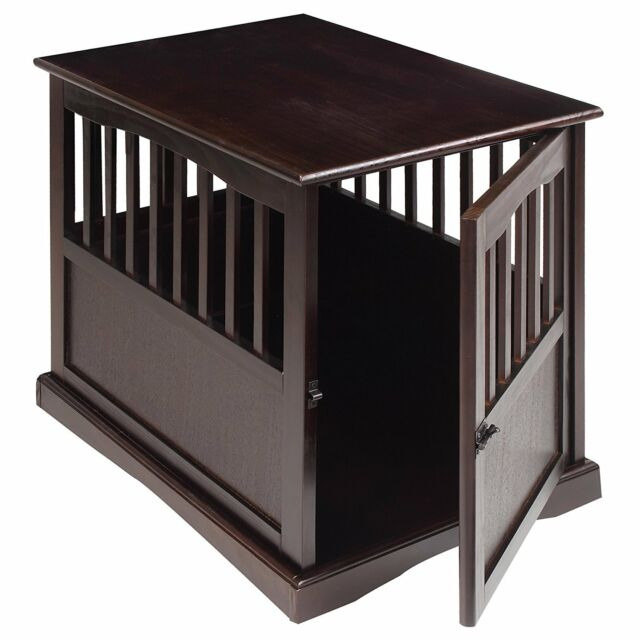 cool end table dog crate furniture | Pet Crate End Table Large Dog Kennel Furniture Cage Wood ...