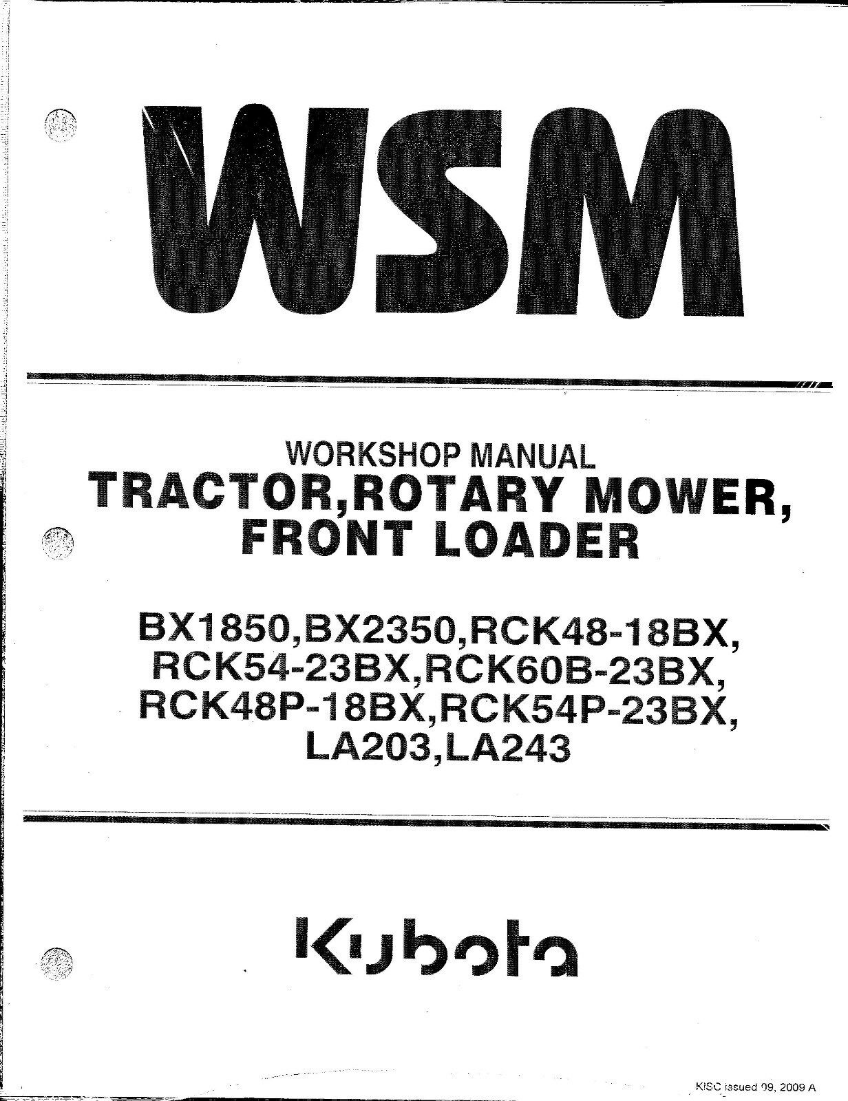 kubota bx1850 bx2350 tractor loader rotary mower workshop manual ebay rh ebay com Kubota BX2350 Transmission Diagram Kubota Parts