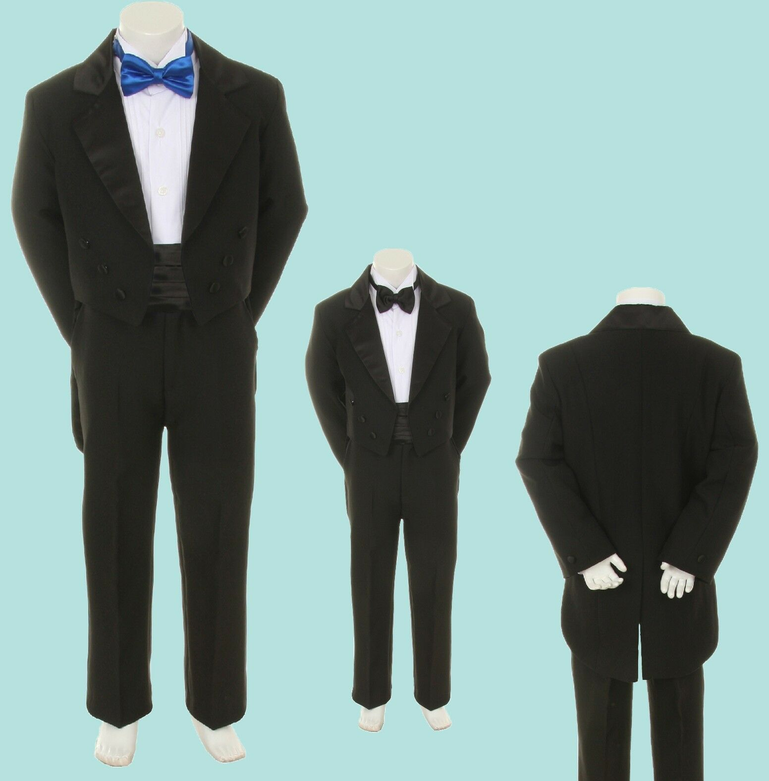 6pc Satin Bow Tie Baby Toddler Boy Formal Black Tail Tuxedo Suit ...