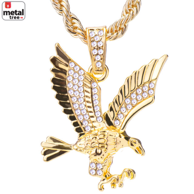 Mens 14k gold plated iced out eagle pendant 24 rope chain mens 14k gold plated iced out eagle pendant 24 rope chain necklace aloadofball Images