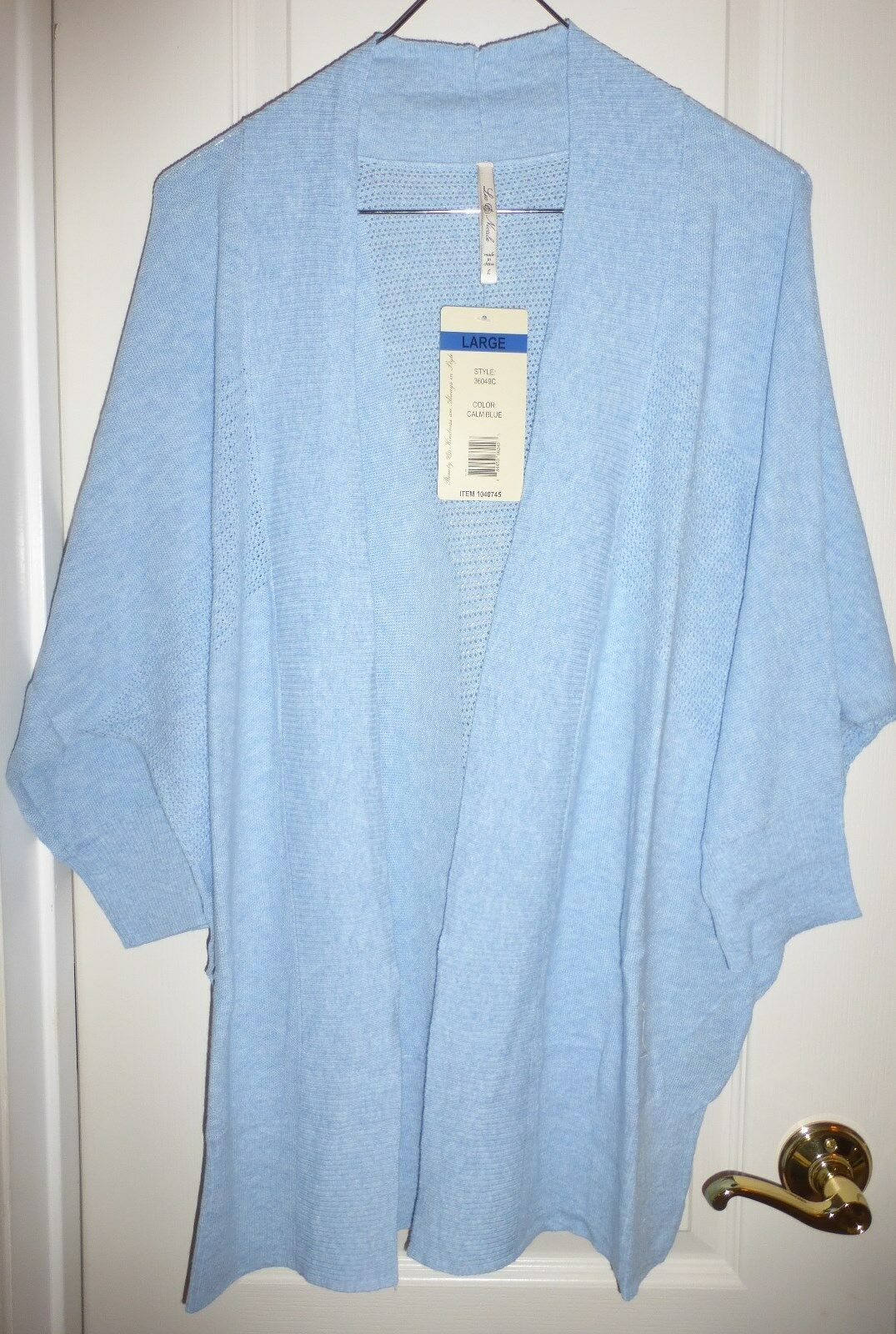 Leo & Nicole Womens M Light Blue Open Front Cardigan Sweater 3/4 ...