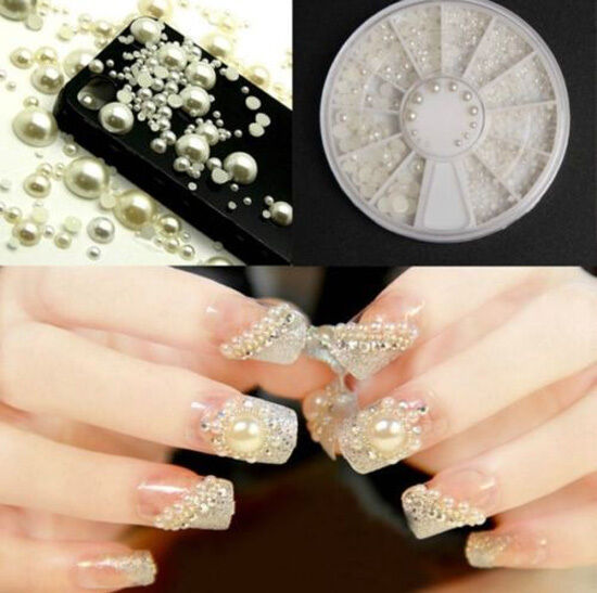 Plastic nail art pearls ebay white pearl nail art stone different size wheel rhinestones beads decoration prinsesfo Images