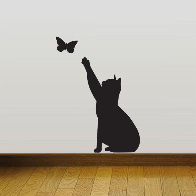 Cat Catching Butterfly Home Vinyl Wall Sticker Decor Decal Mural KItchen Pet Part 95
