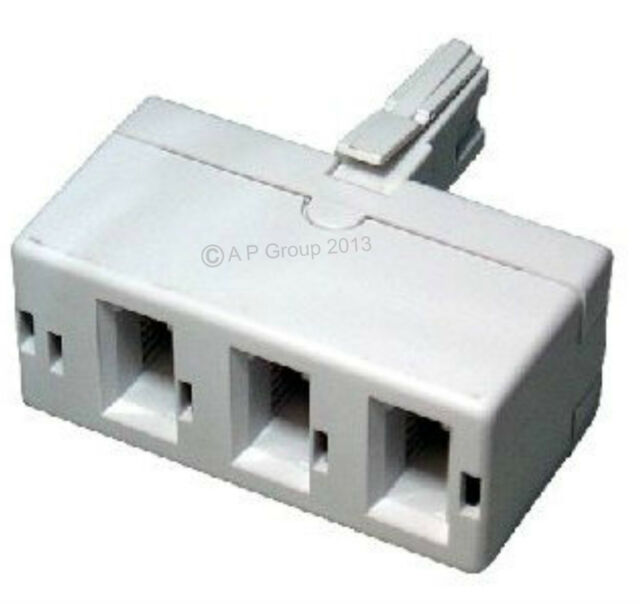 BT Treble Telephone Phone Socket 3 Way Y Adapter Triple - One to ...