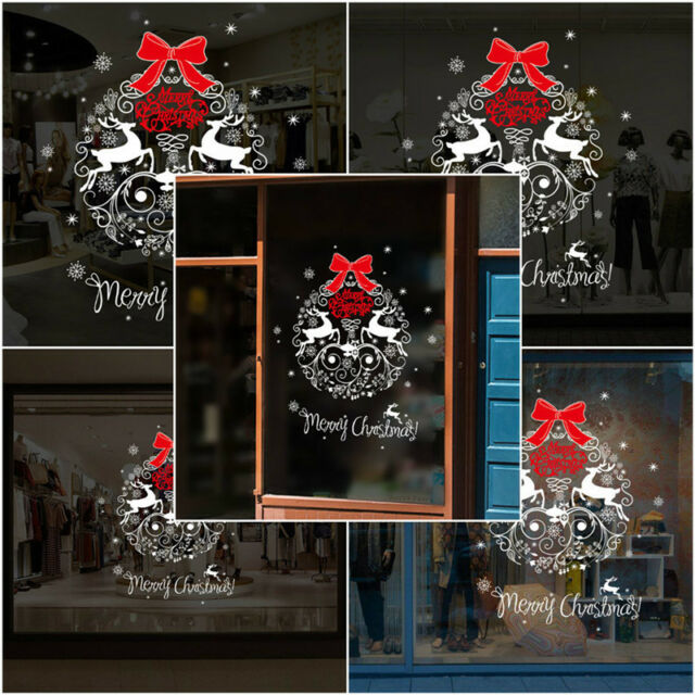 Merry Christmas Gift Wreath Wall Window Stickers Decals Xmas Home - Window stickers for home uk