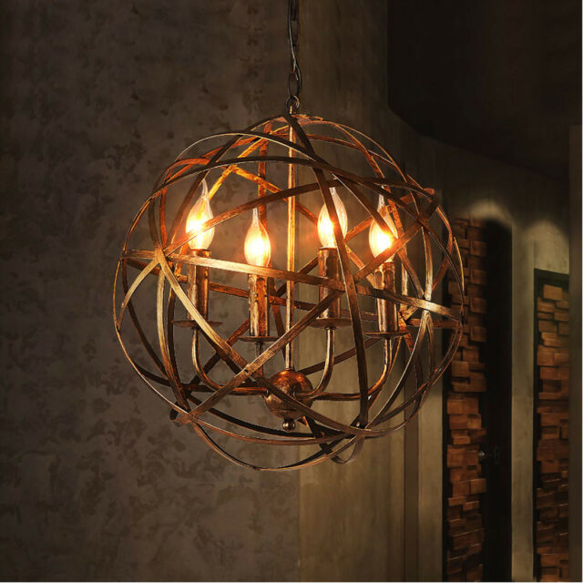 Aged Round Metal Sphere Chandelier Orb Light Pendant Oil Rubbed Brass 4 Lights & Aged Round Metal Sphere Chandelier Orb Light Pendant Oil Rubbed ...
