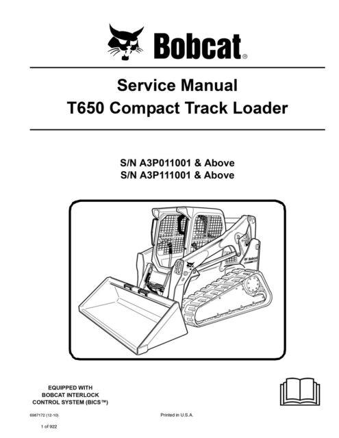 bobcat t650 compact track loader service manual 2010 rev. Black Bedroom Furniture Sets. Home Design Ideas