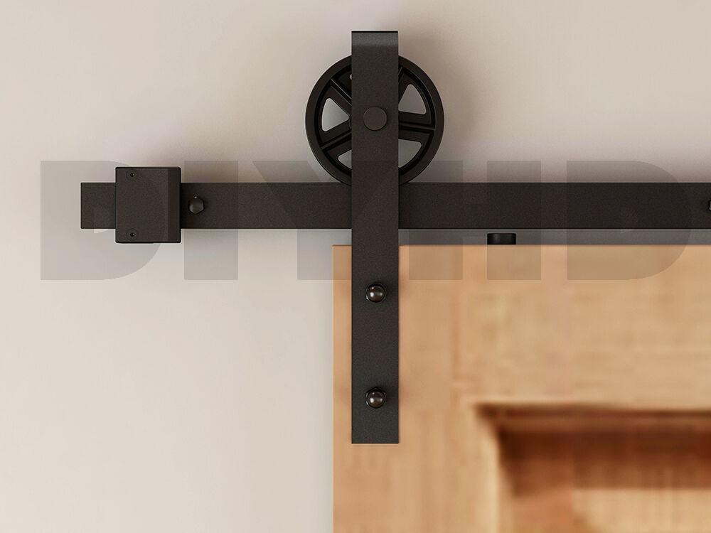 Diyhd Sliding Door Hardware 8ft Industrial Wheel Barn Wood ...