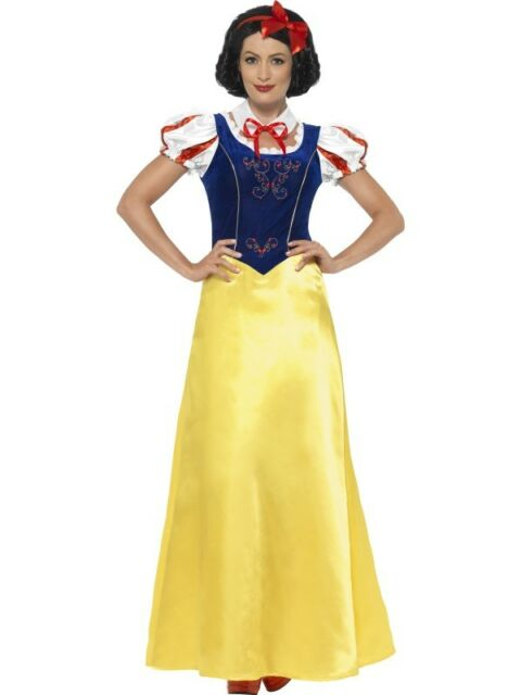 Princess Snow Costume Smiffys Fancy Dress Costume  sc 1 st  eBay & Snow Fairytale Princess Fancy Dress Costume Womens Blue Yellow ...
