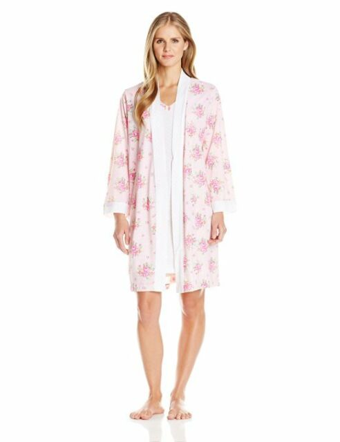 Carole Hochman 2pc Pink Floral Nightgown Gown Robe Set S M Regular S ...
