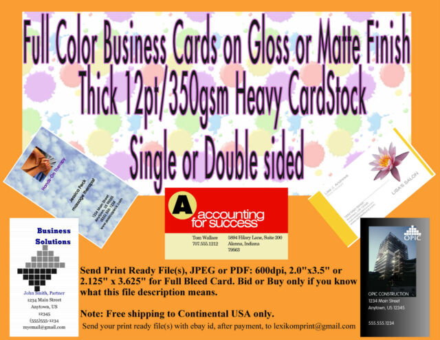 250 business cards on matte or gloss paper 12 pt 350 gsm heavy card 250 business cards 1 or 2 sided on matte or gloss 12pt350gsm heavy card reheart Images