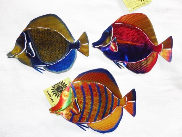 Hand crafted 3d metal wall art refraxions sculpture mixed set of 3 sm tang fish