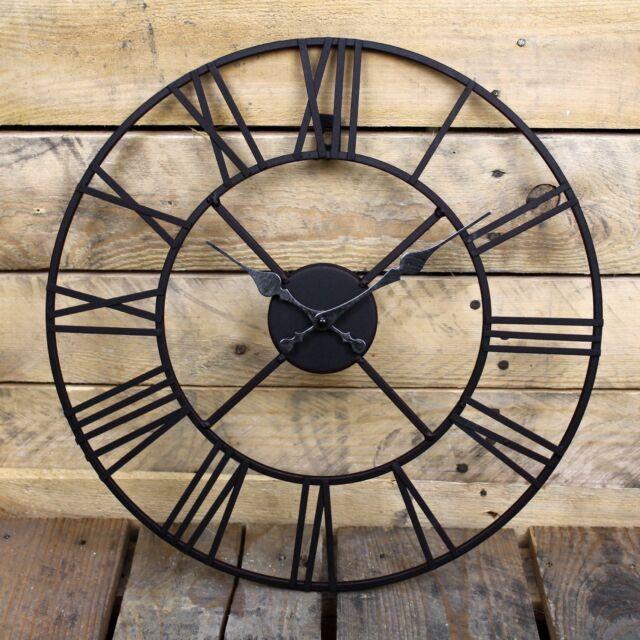 large outdoor garden wall clock big roman numerals giant open face metal 4060cm