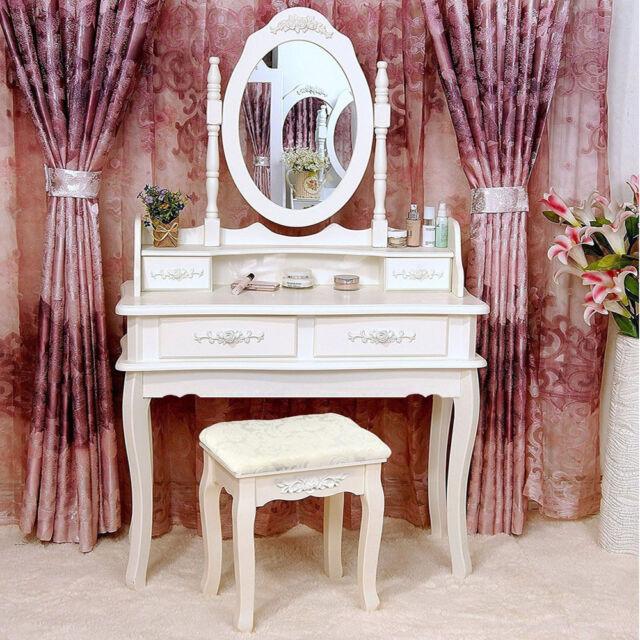 White Vanity Makeup Dressing Table Set w/Stool 4 Drawer\u0026Mirror Jewelry Wood Desk & White Vanity Jewelry Makeup Dressing Table Set W/stool 4 Drawer ...