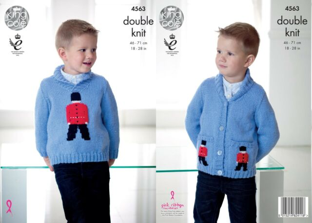 King Cole 4563 Knitting Pattern Boys Soldier Sweater & Cardigan in Pricewise DK