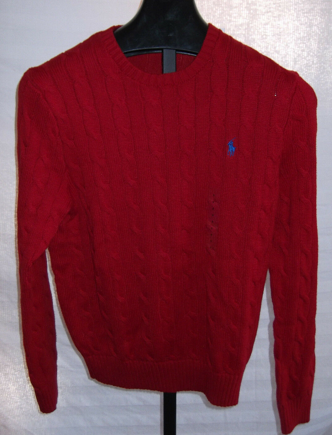 Polo Ralph Lauren Tudor Red Cotton Cable Knit Sweater Mens Size ...