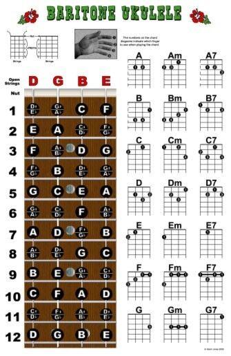 Baritone Ukulele Fretboard Chord Wall Chart Poster Uke Chords DGBE Beginner