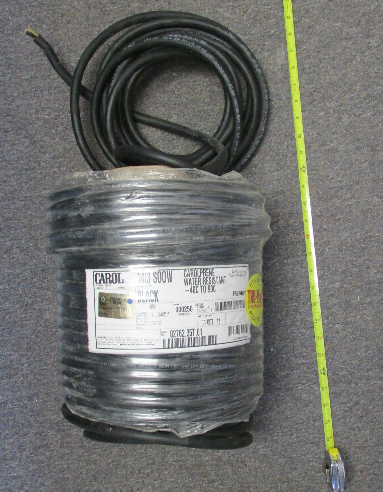 1) Roll Carol 14/3 S00w 2.08mm2 250 FT Black Carolprene Water ...