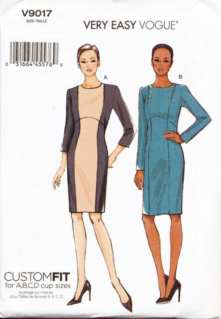 Vogue Sewing Pattern 9017 Misses 6-14 Easy Custom Fit Sheath Colour ...