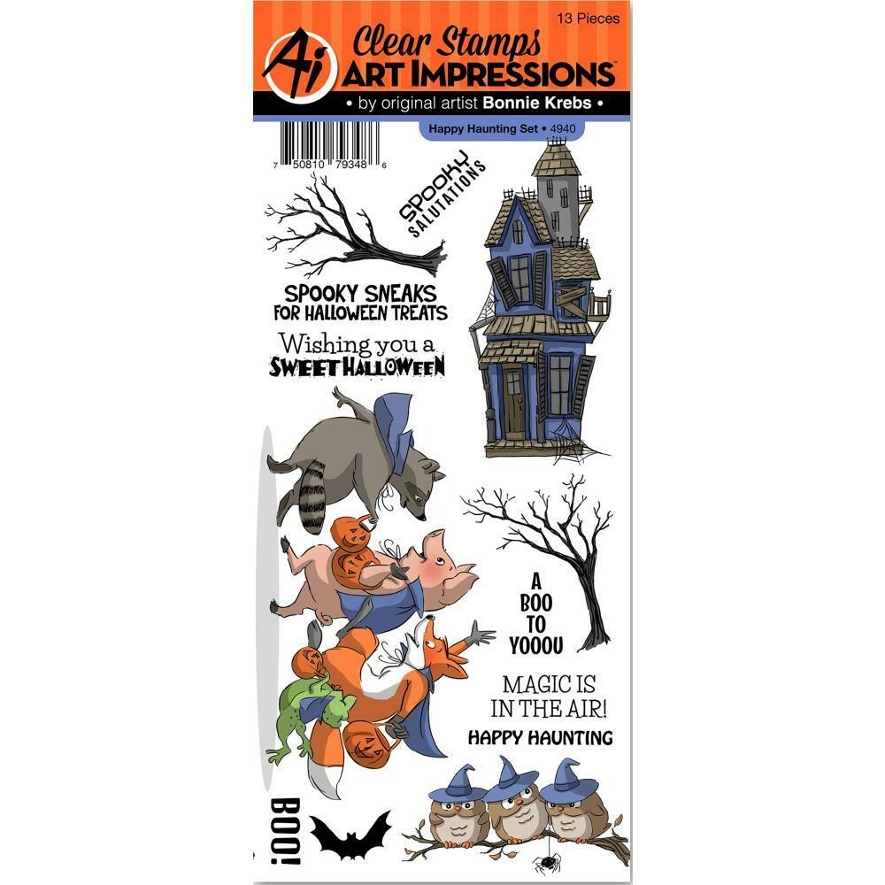 art impressions clear stamp set happy haunting halloween sentiments