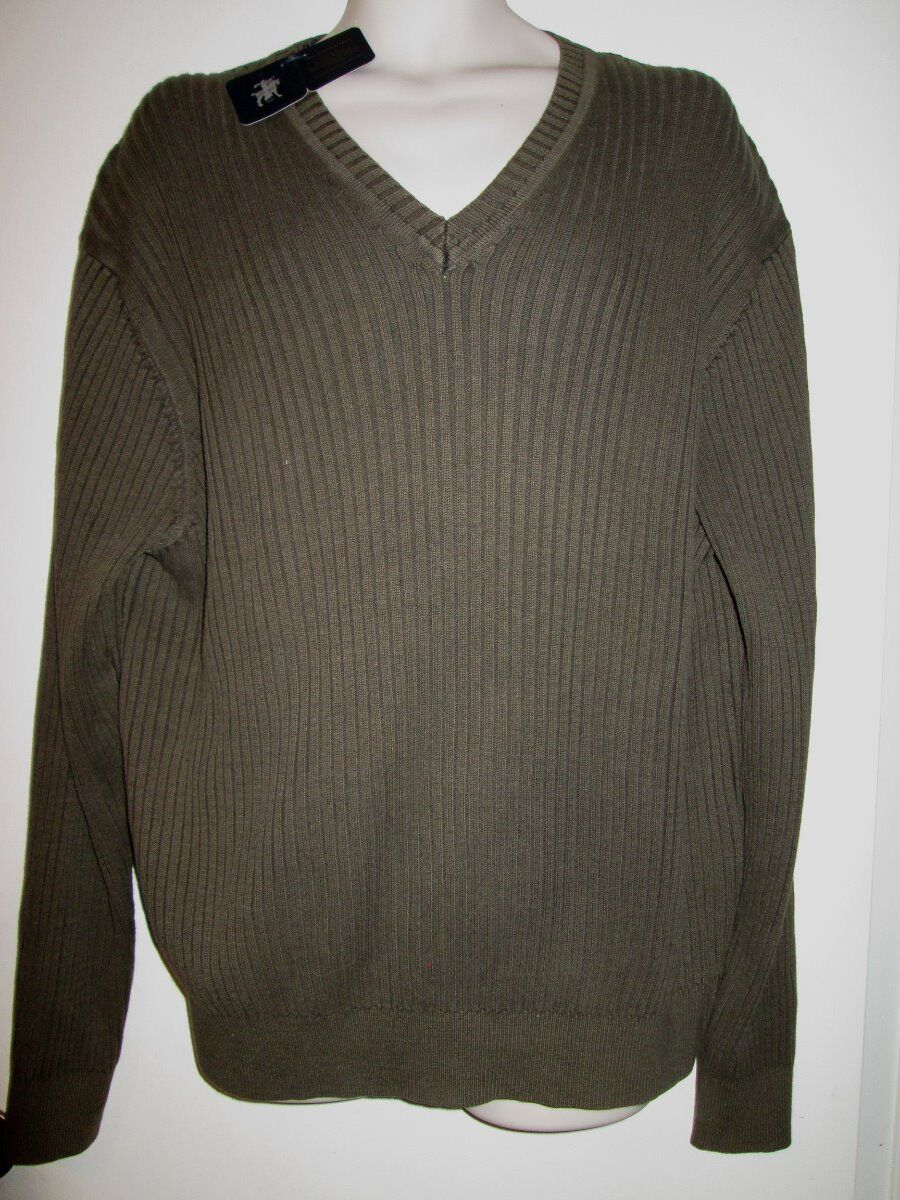 Hart Schaffner Marx Mens Ribbed Sweater XXL Olive Cotton Knit V ...