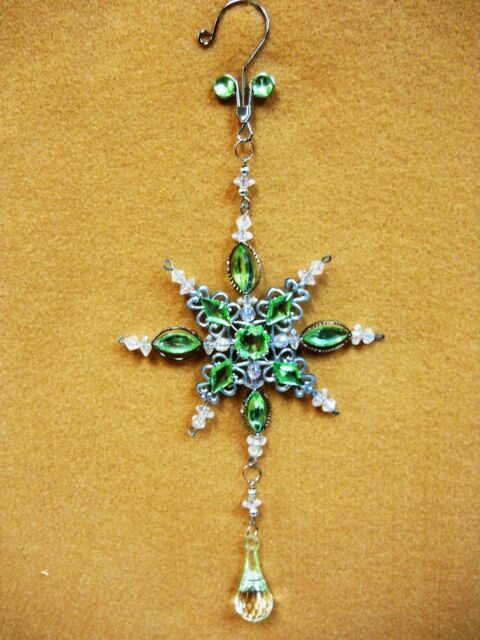 Lime Green Jeweled SNOW FLAKE  Christmas Ornament Decoration Ovid Facet Gems 10""