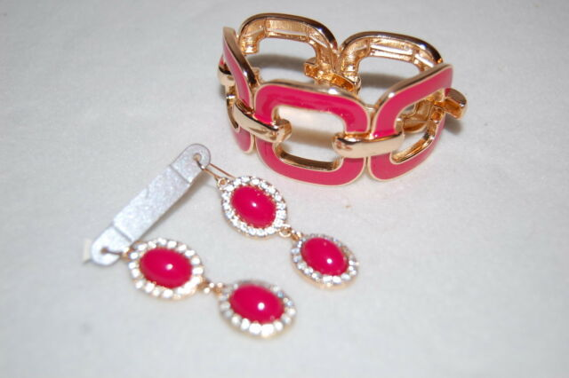 Costume Jewelry Set EARRINGS Long DARK PINK STONES Enameled Bracelet RHINESTONES : costume jewelry set  - Germanpascual.Com