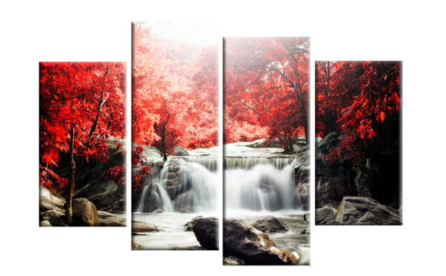 Red autumn forest waterfall canvas wall art picture 4 panel split artwork 40