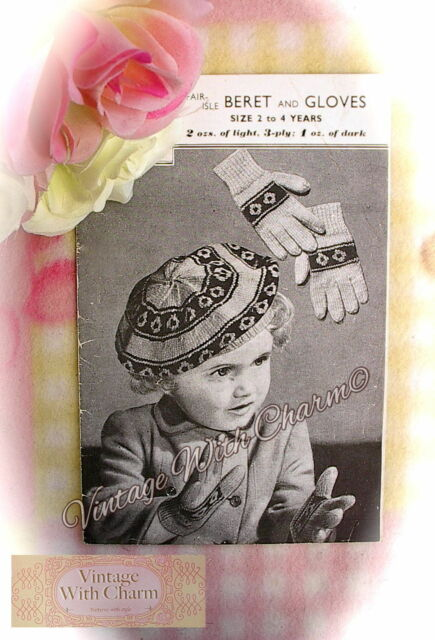 Vintage 1940s Knitting Pattern for Childs Traditional Fair Isle ...